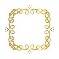 Goldverzierungsrahmen mit Herzformen vektor