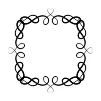 schwarzer Ornamentrahmen mit Herzformen vektor