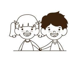 Silhouette des Paarbabys, das auf weißem Hintergrund lächelt vektor