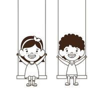 Paar Babys auf Schaukel lächelnd vektor