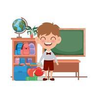 Schülerjunge mit Schulmaterial im Klassenzimmer