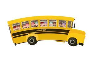 gelber Schulbus mit Schülern vektor
