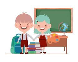 Schüler mit Schulmaterial im Klassenzimmer vektor