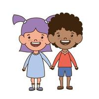 Paar Babys stehen lächelnd auf weißem Hintergrund vektor