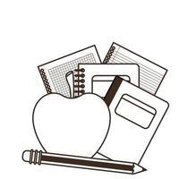 bunt med böcker med äppelfrukt vektor