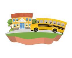 Schulgebäude der Grundschule mit Bus in Landschaft vektor