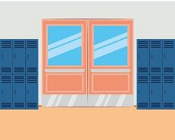 Schulkorridor mit Schließfächern und geschlossener Tür