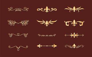 Teiler Ornamente Gold Stil Set Icons Design vektor
