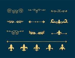 Teiler Ornamente Gold Style Icon Collection Design vektor