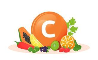 Vitamin C Nahrungsquellen vektor