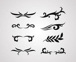 Teiler Ornamente Linie Stil Icon Set vektor