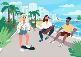 Sommeraktivität für junge Männer und Frauen vektor