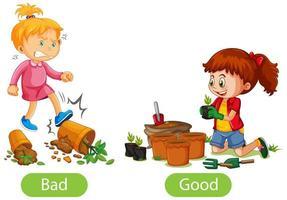 entgegengesetzte Wörter mit schlecht und gut vektor