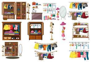 uppsättning kläder, accessoarer och garderob isolerad på vit bakgrund vektor