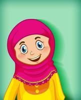 Karikaturfigur des muslimischen Mädchenporträts auf grünem Hintergrund