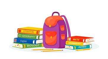 elevryggsäck och läroböcker