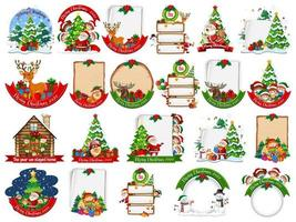 Satz leere Weihnachtskartenschablone lokalisiert auf weißem Hintergrund
