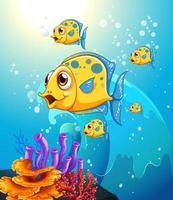 viele exotische Fische Zeichentrickfigur in der Unterwasserszene mit Korallen
