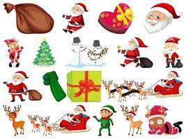uppsättning jultomten seriefigur och julobjekt isolerad på vit bakgrund
