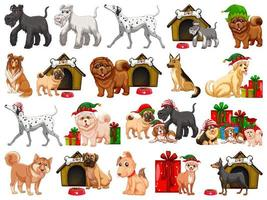 olika roliga hundar i tecknad stil isolerad på vit bakgrund
