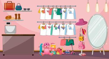 Kinderkleidung auf einer Wäscheleine mit vielen Spielsachen in der Raumszene