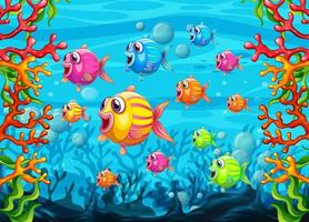 många exotiska fiskar seriefigur i undervattensbakgrunden