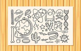 verschiedene Gekritzelstriche über wissenschaftliche Ausrüstung auf einem Papier