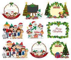uppsättning tom jul vykort och logotyp isolerad vektor