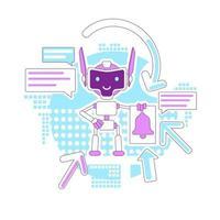 Benachrichtigung Bot Thin Line Design vektor