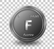 fluor kemiskt element. kemisk symbol med atomnummer och atommassa.