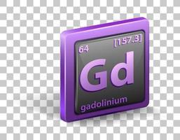 gadolinium kemiskt element. kemisk symbol med atomnummer och atommassa.