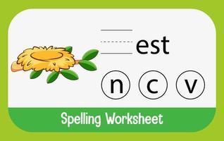finde fehlenden Buchstaben mit Nest vektor