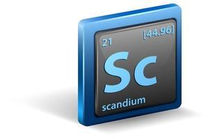 chemisches Scandium-Element. chemisches Symbol mit Ordnungszahl und Atommasse.