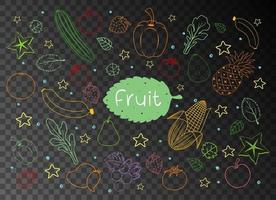 Satz verschiedene Fruchtkritzeleien lokalisiert auf transparentem Hintergrund vektor