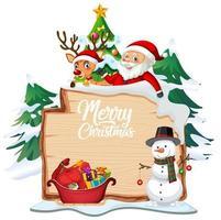 Frohe Weihnachten Schriftlogo auf Holzbrett mit Weihnachtskarikatur auf weißem Hintergrund vektor