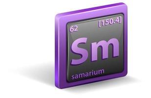 samarium kemiskt element. kemisk symbol med atomnummer och atommassa.