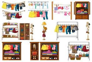 Satz Kleidung, Accessoires und Kleiderschrank lokalisiert auf weißem Hintergrund