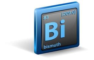 vismut kemiska element. kemisk symbol med atomnummer och atommassa.