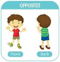 entgegengesetzte Wörter mit Vorder- und Rückseite vektor