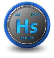 chemisches Element von Hassium. chemisches Symbol mit Ordnungszahl und Atommasse.