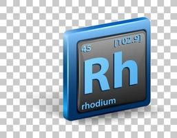 Rhodium chemisches Element. chemisches Symbol mit Ordnungszahl und Atommasse.