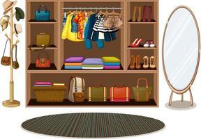 Kleidung hängt an einer Wäscheleine mit Accessoires im Kleiderschrank vektor
