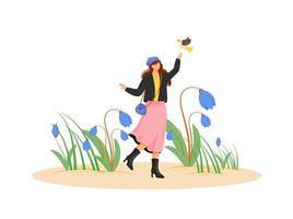 glad kvinna med blommor vektor