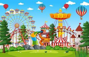 nöjesparkplats dagtid med ballonger i himlen vektor