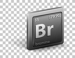 brom kemiskt element. kemisk symbol med atomnummer och atommassa.