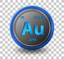 Gold chemisches Element. chemisches Symbol mit Ordnungszahl und Atommasse.