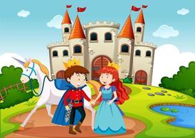 Prinz und Prinzessin in märchenhafter Landszene