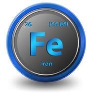 kemiskt element av järn. kemisk symbol med atomnummer och atommassa.