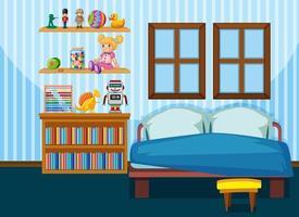 sovrumsinredning med möbler i blått färgtema