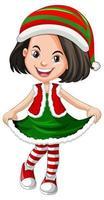 süßes Mädchen, das Weihnachtskostüme Zeichentrickfigur trägt